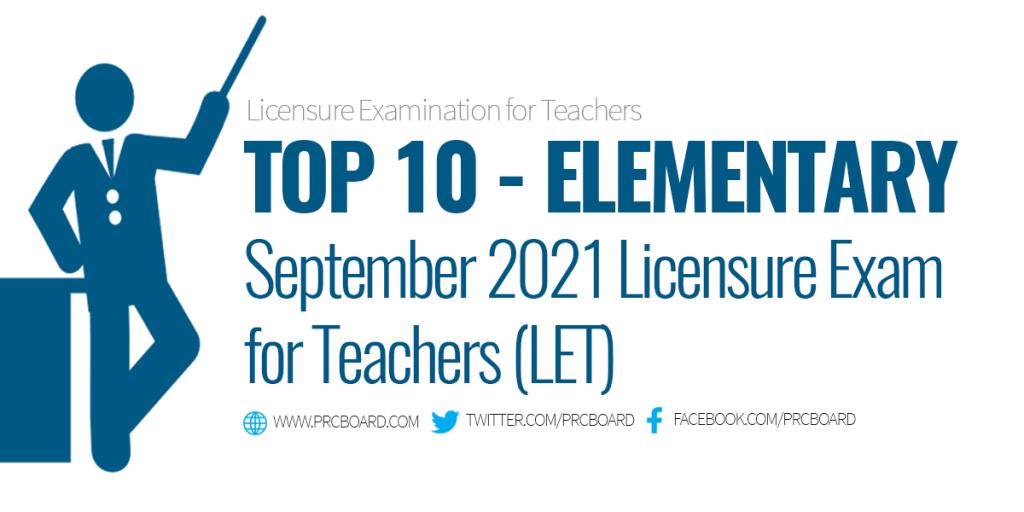 September 2021 LET Topnotchers Elementary